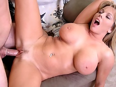 Monster titted milf babe Amber Bach fucking