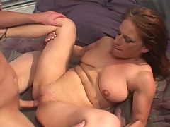 Brunette loves having her pussy shoved full of young cock
